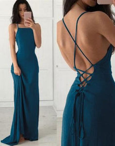 Spaghetti Straps prom dress a-line backless evening dress chiffon prom gowns