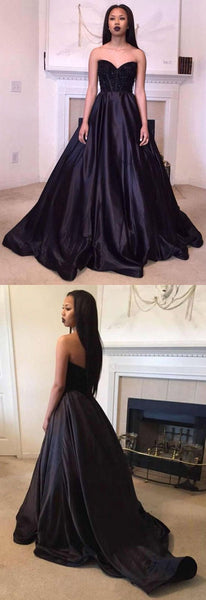 sweetheart applique wedding dress black long prom dress satin long formal ball gowns,HS209