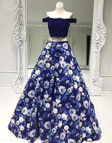 two pieces A-line off shoulder long charming flower prom dress, PD812