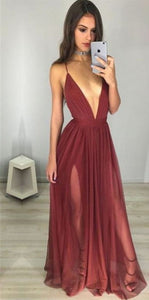 v-neck long prom dress backless a-line evening dress with high slit,HS263
