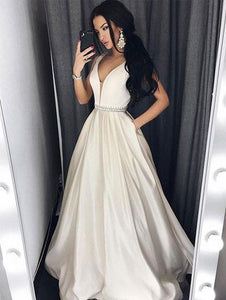 v-neck long prom dress ivory a-line satin evening dress,HS245