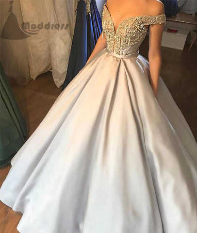 v-neck long prom dress off the shoulder a-line satin evening dress prom gowns,HS335