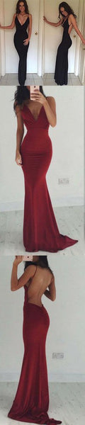 v-neck prom dress mermaid backless evening dress,HS054