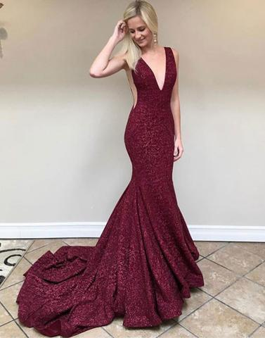sparkle burgundy sequin sparkle mermaid formal long prom dress, PD6846
