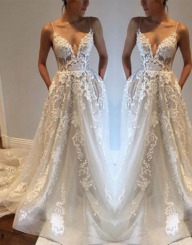 sexy lace wedding dress spaghetti straps a-line long prom dress, PD7678