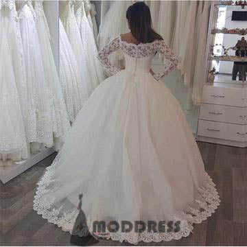 White Lace Wedding Dresses Long Sleeves Ball Gowns Off The Shoulder Bridal DressesHS614