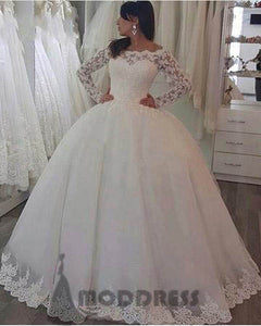 white lace Wedding Dresses long sleeves Ball Gowns Off The Shoulder Bridal Dresses,HS614