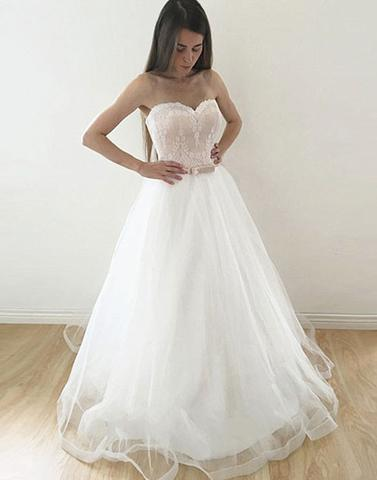tulle white A-line sweetheart long prom dress, PD7680