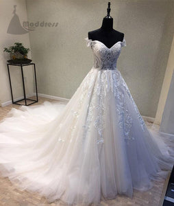 white off the shoulder wedding dress tulle applique long prom dresses,,HS342