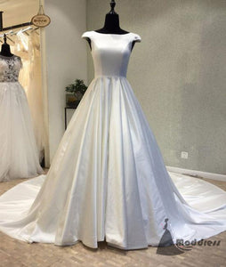 white satin long prom dress cap sleeve scop evening dress with train,HS378