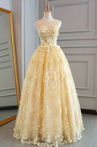 yellow applique wedding dress lace a-line long prom dress,HS293
