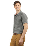 JDC Mens 100% Linen Formal Slim Fit Half Sleeve Button Down Shirt