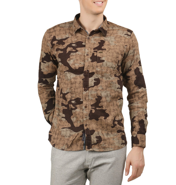 JDC Men's Casual Slim Fit Long Sleeve Camouflage Button Down Shirt