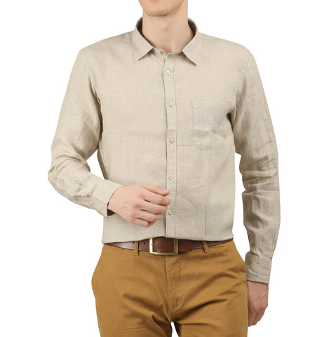 JDC Mens 100% Linen Formal Slim Fit Long Sleeve Button Down Shirt