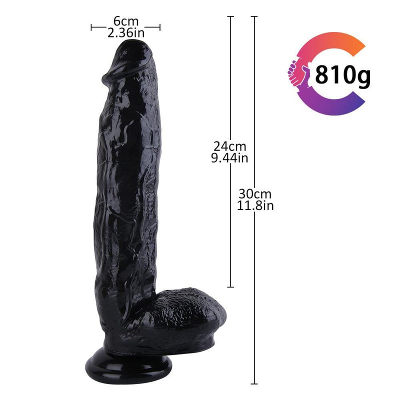 12 Inch Long Black Sucktion Cup Realistic Dildo