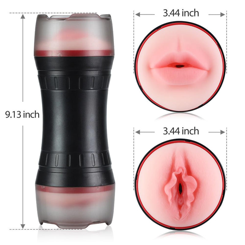 2 In 1 Realistic Textured Vagina Mouth Pocket Pussy Stroker