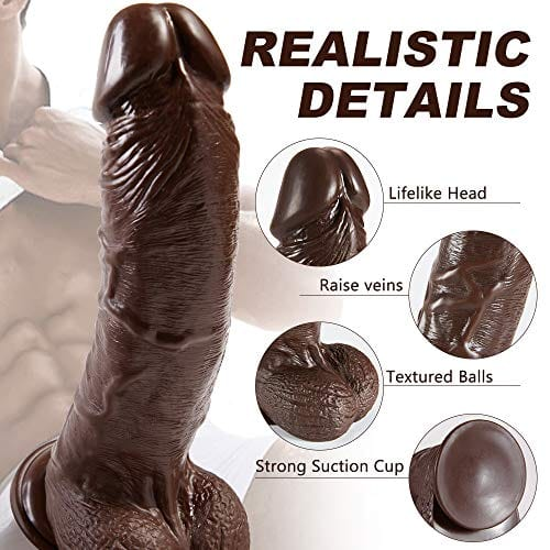 9 Inch Manual Curved Giant Bealistic Black Dildo