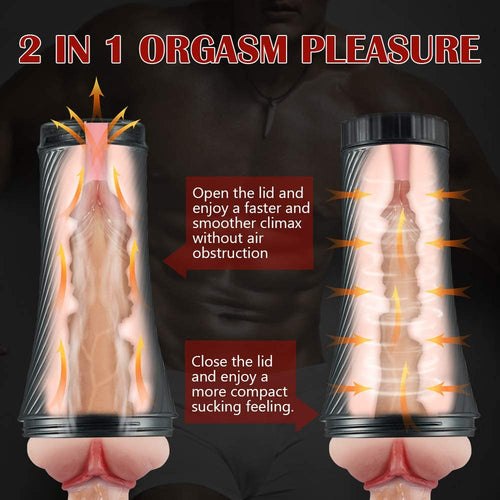 2 in 1 Thrill Realistic Textured Vagina Pocket Pussy Stroker