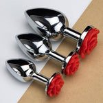 3pcs Stainless Steel Booty Sparks Red Rose Anal Plugs Kit