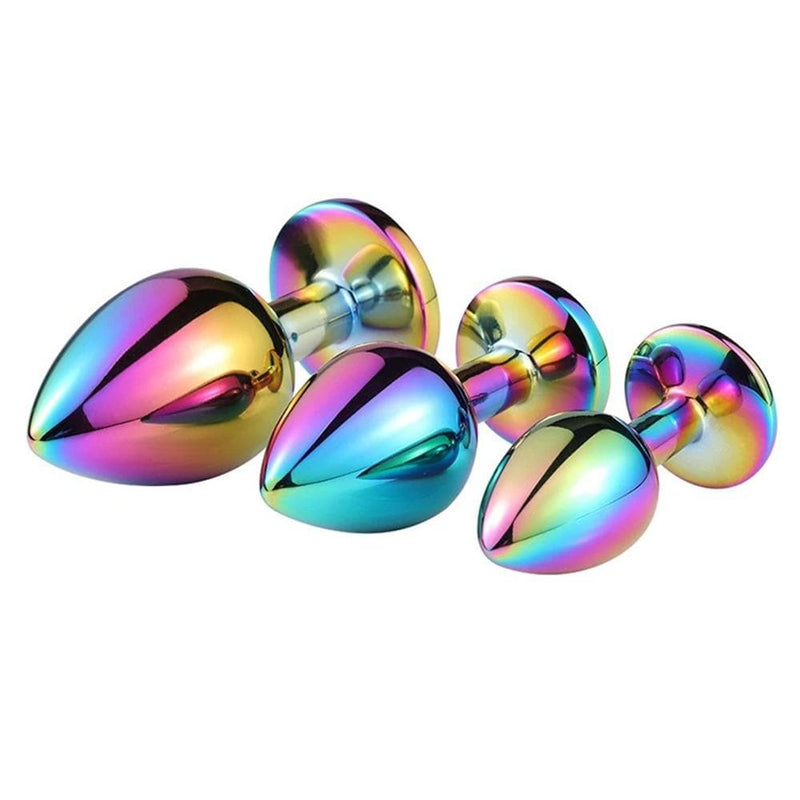 3pcs Stainless Steel Colorful Luxurious Diamond Butt Plugs Set