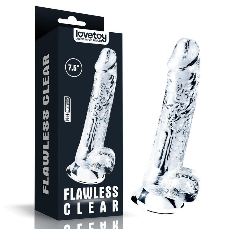 7.5 Inch Transparent Suction Cup Realistic Dildo