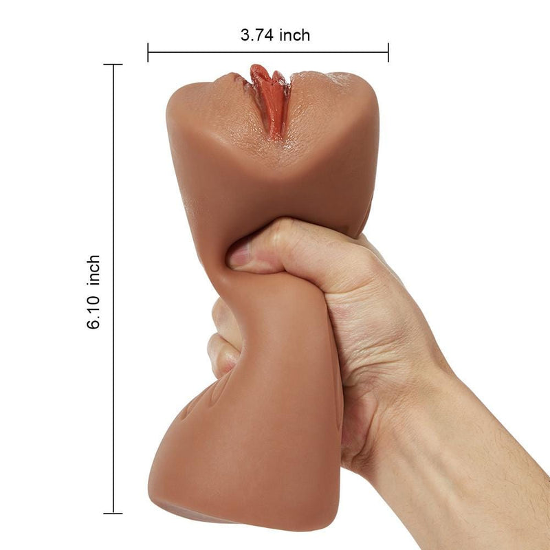"6.1"" Bronzed Skin Realistic Clitoris Soft Pocket Pussy Stroker"