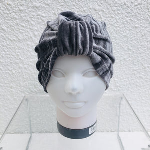 Grey Crushed Velvet Turban