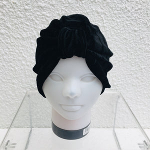Black Crushed Velvet Turban