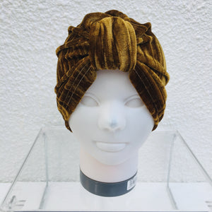 Mustard Crushed Velvet Turban