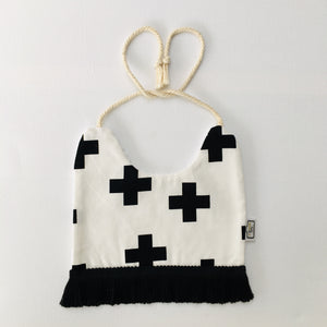 Black Plus Tassel Bib
