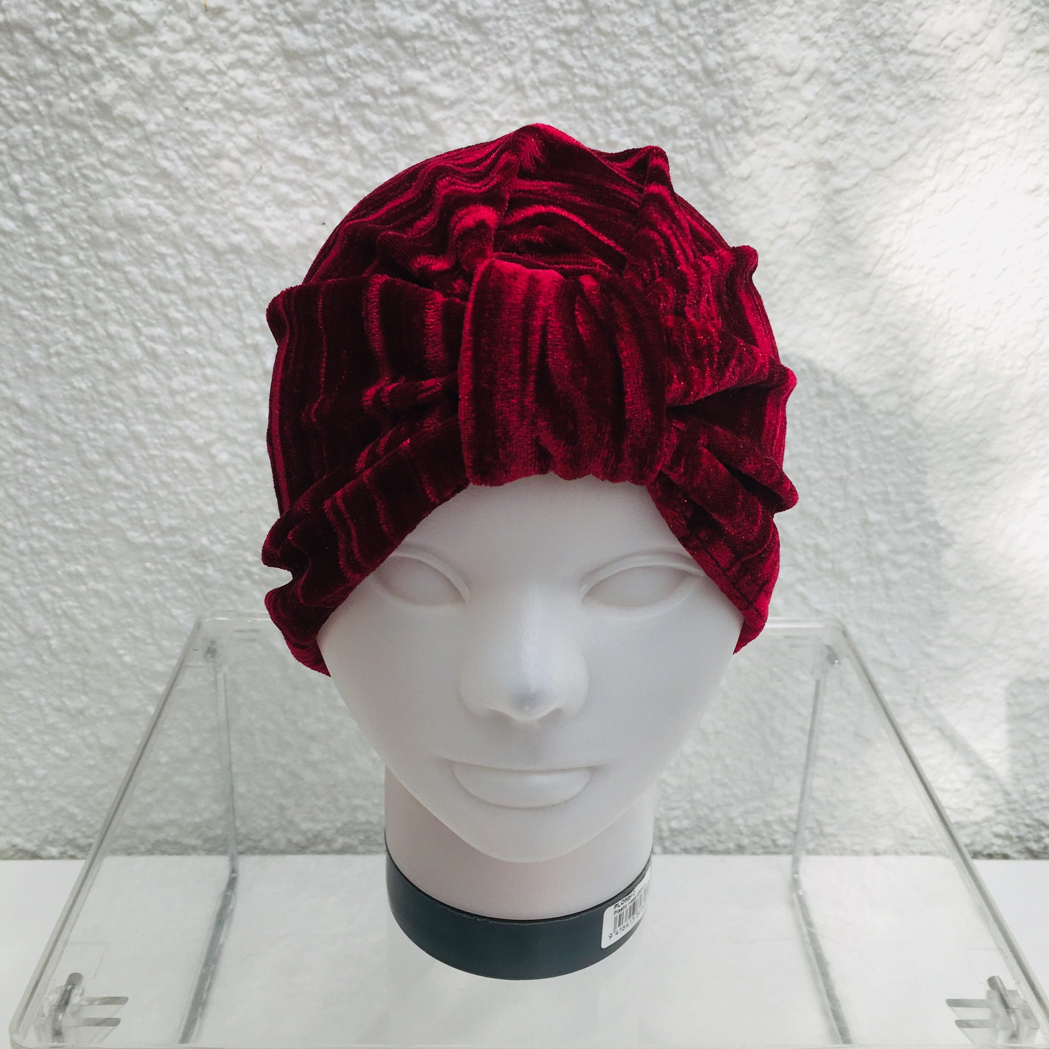 Wine Crushed Velvet Turban
