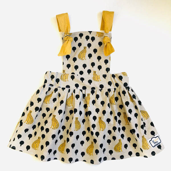 PRE-ORDER : Cheetah Linen Reversible Pinafore