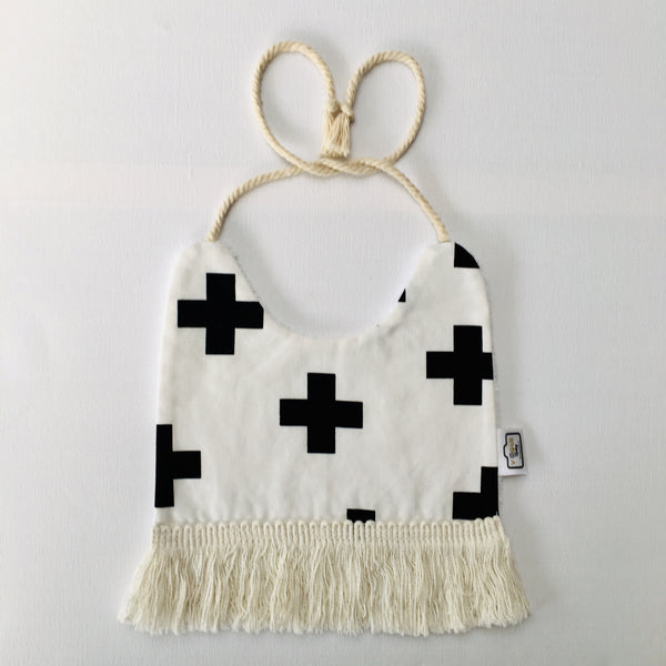 Black Cross Tassel Bib
