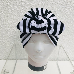Black & White Striped Cotton Turban