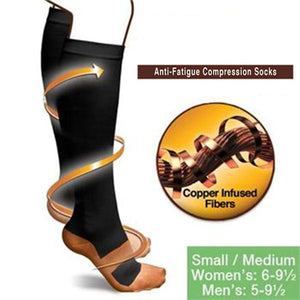 UNISEX ANTI FATIGUE COMPRESSION COPPER FIBER SOCKS