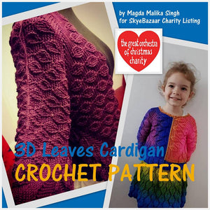 3D LEAVES Cardigan Crochet Pattern by Magdalena Malika Singh