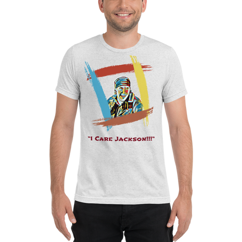 "King Of The Kickboxers: ""I Care Jackson!!!"" T-shirt – Rainbow White"