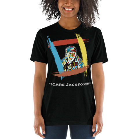 "King Of The Kickboxers:  ""I Care Jackson!!!"" T-shirt - Rainbow Black"