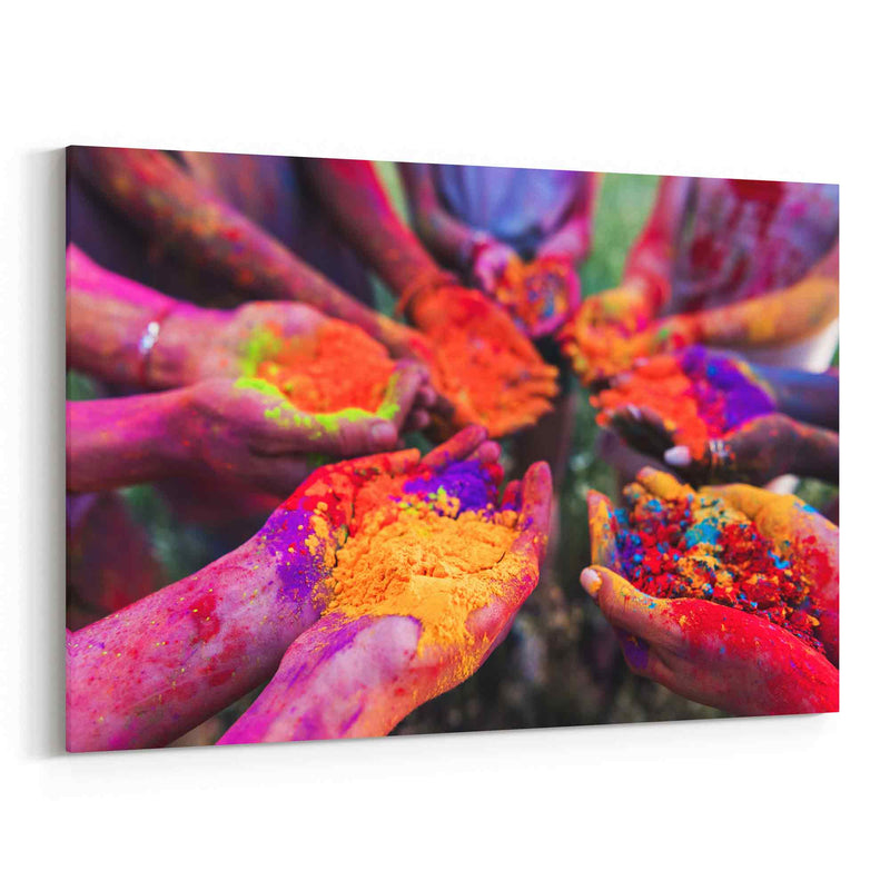 Colorful Powder In Hands Canvas Print