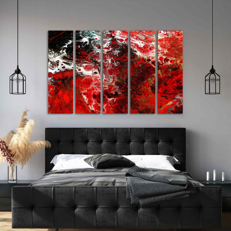 Red Resin Abstract Art Canvas Print