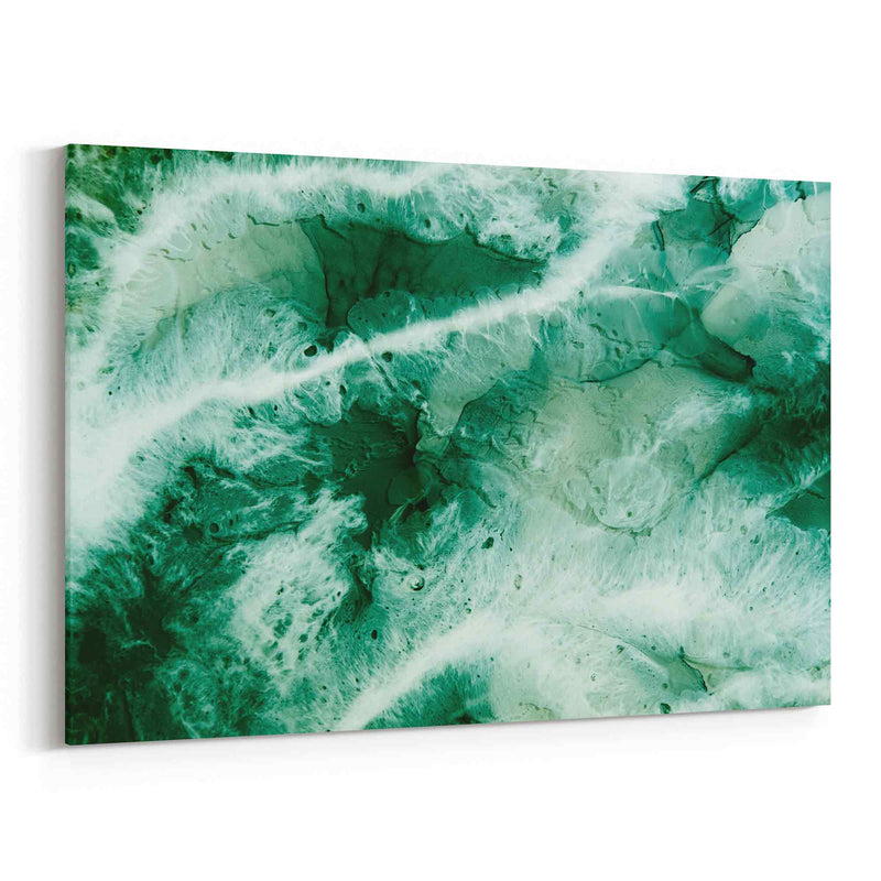 Abstract Art Alcohol Ink Dark Green Canvas Print