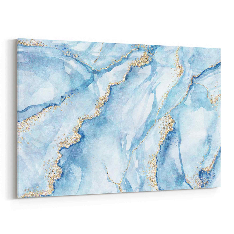 Abstract Art Marble Light Blue Gold Canvas Print