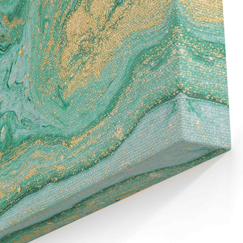 Abstract Art Marble Green Gold Canvas Print