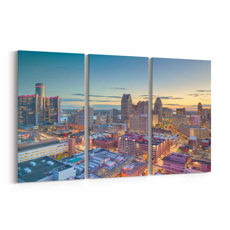 Detroit Skyline Canvas Wall Art