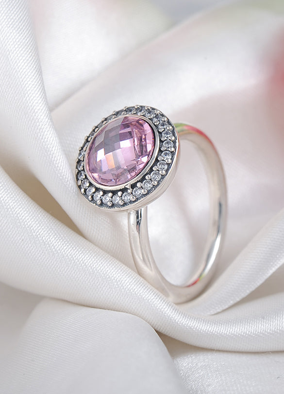 Pink Poetic Ring, Antique style, 925 Sterling Silver