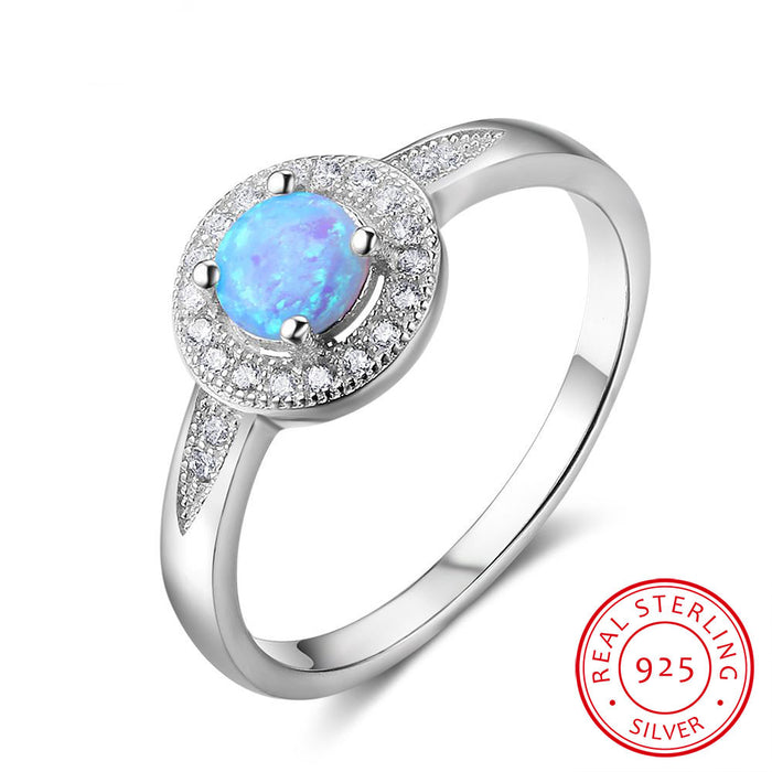 Sterling Silver Blue Fire Opal Ring