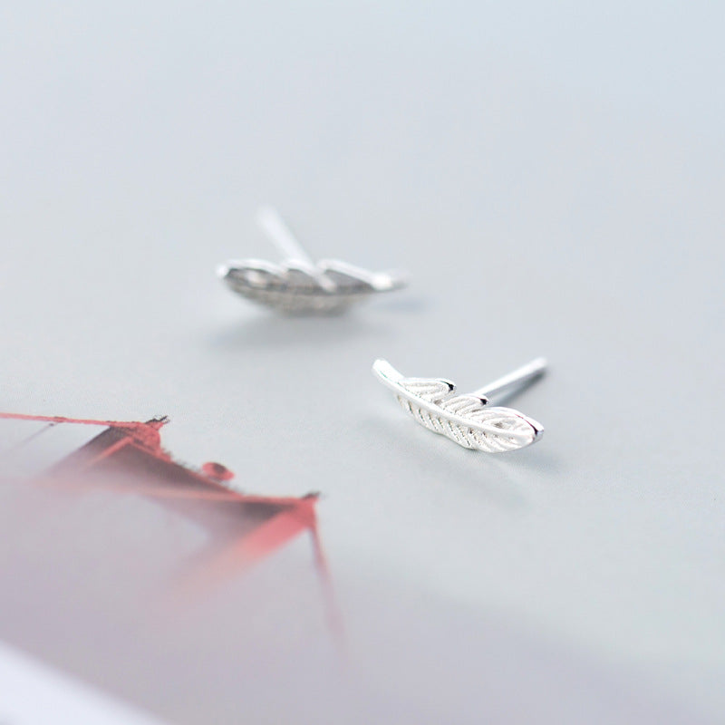 Silver Bird Feather Stud Earrings