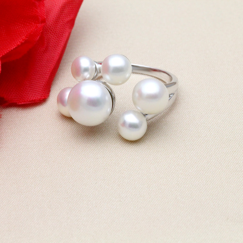 Natural freshwater pearl silver ring adjustable