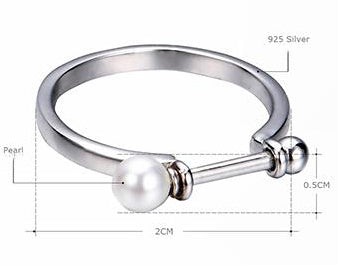 Silver Cuff Open Ring with Pearls