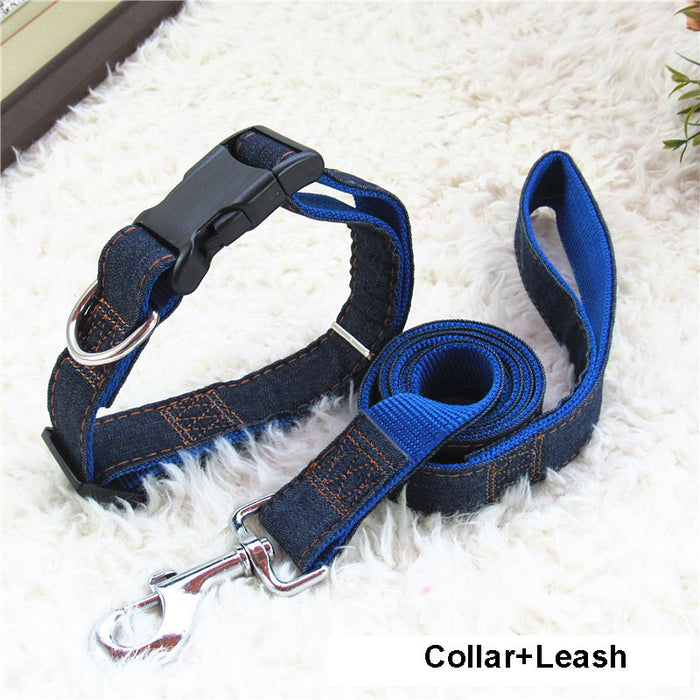 120 cm long Denim & Nylon Dog Collar/Harness+Leash Sets 120cm Long